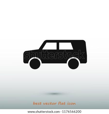 car icon, stock vector illustration flat design style