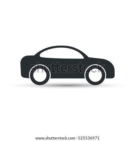 Car icon vector. Simple black car sign with shadow.