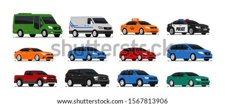 Car icons collection. Vector illustration in flat style. Urban, city cars and vehicles transport concept. Isolated on white background. Set of of different models of cars;taxi, sedan, van, pickup,..