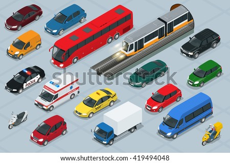 car icons flat 3d isometric
