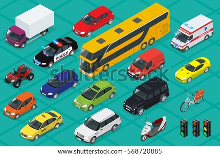 Car icons. Flat 3d isometric high quality city transport. Sedan, van, cargo truck, off-road, bus, scooter, motorbike, riders, ATV. Set of urban public and freight transport