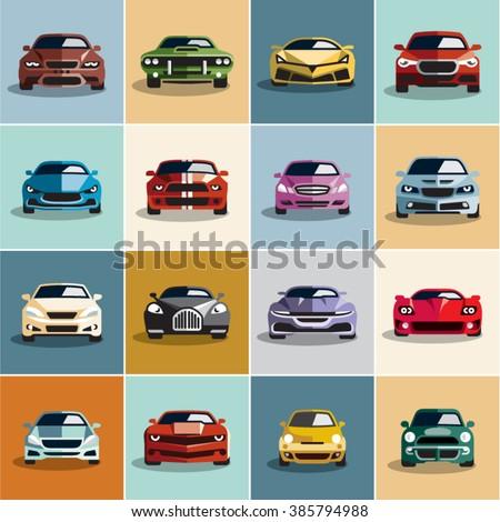 Car icons. Flat style car icons set 2.