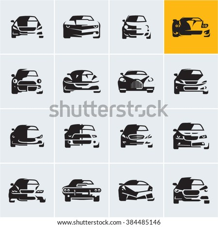 car icons,  graphic vector car silhouettes, car front view, car logo design
