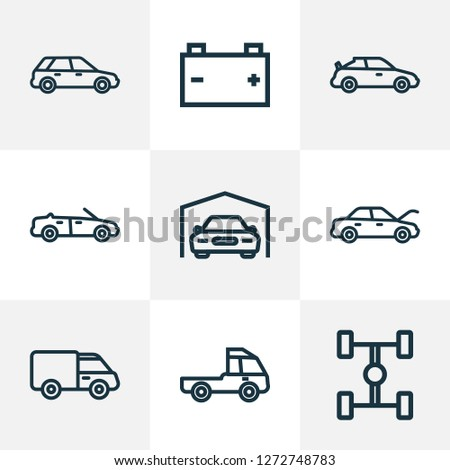 Car icons line style set with wheelbase, battery, cabriolet and other truck  elements. Isolated vector illustration car icons.