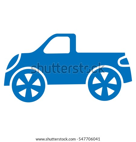 car icons pickup car blue on a