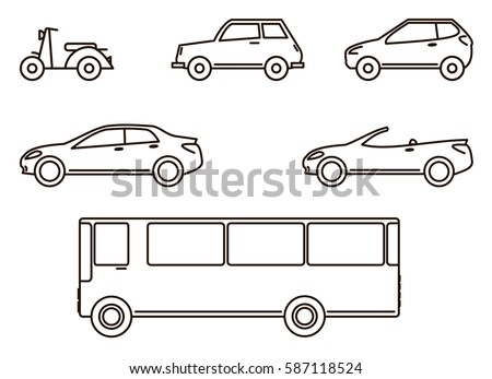 car icons, scooter, cars and bus, cars of lines, flat design of lines, automobile icons set