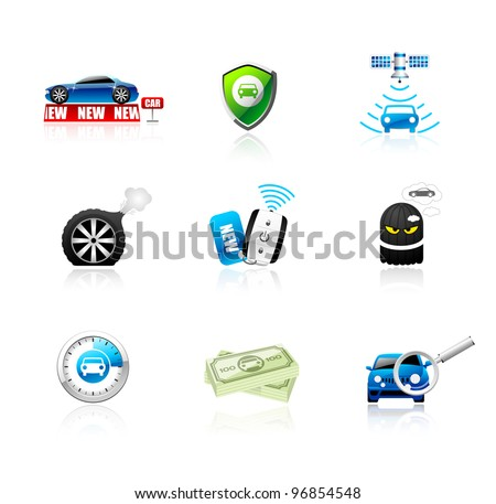Car icons set. Different types of car topics including insurance, finance, service and sales. This illustration contains transparencies, AI10 EPS.