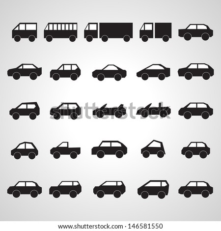 Car Icons Set - Isolated On Gray Background - Vector Illustration, Graphic Design Editable For Your Design.