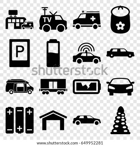 car icons set set of 16 car