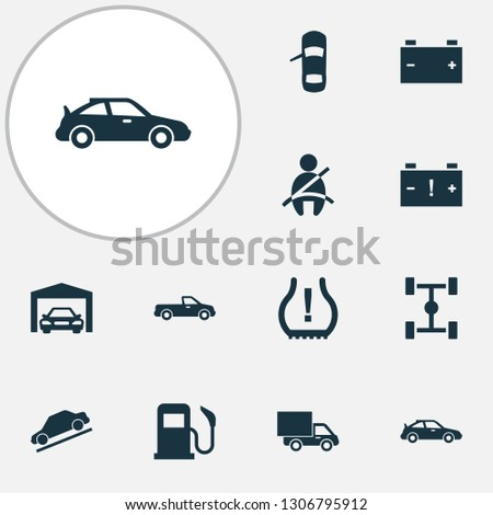 Car icons set with seat belt not on, hill descent, van and other carriage elements. Isolated vector illustration car icons.