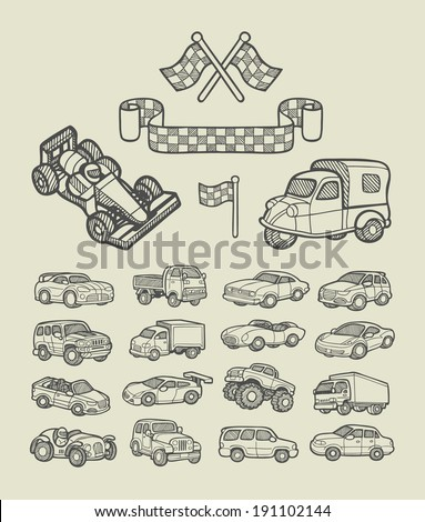 car icons sketch cars and