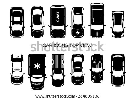 car icons top view auto and