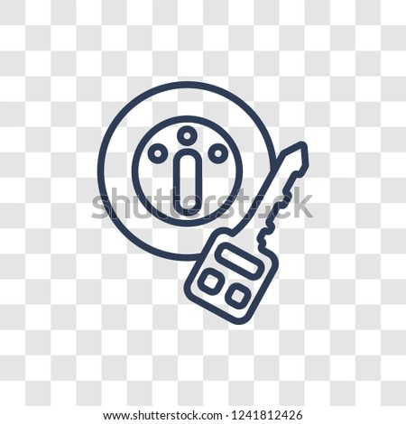 car ignition icon. Trendy linear car ignition logo concept on transparent background from car parts collection