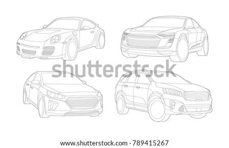 Car illustration, Car Illustration, Auto icon, Sport car, Modern auto, Transportation concept, Line vector, Rent car, Transportation set