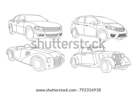 Car illustration, Car Illustration, Auto icon, Sport car, Modern auto, Transportation concept, Line vector, Rent car