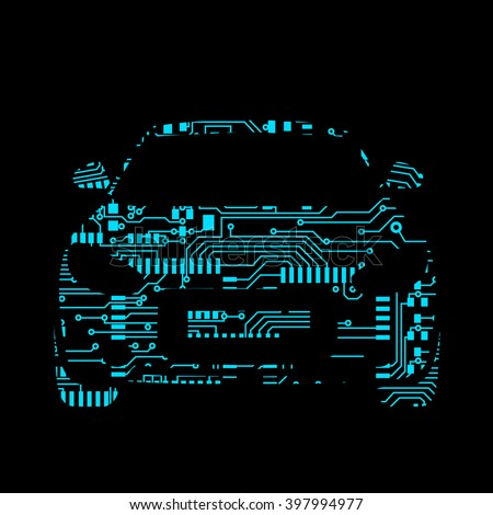 car in circuit board style