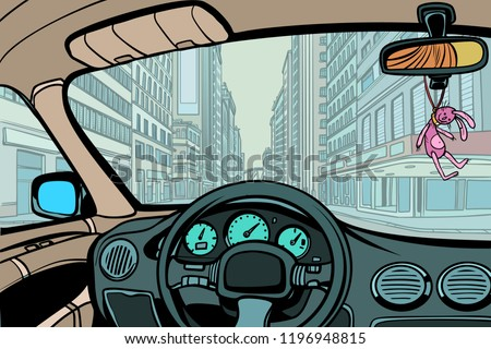 car in the city, view from inside cabin. Comic cartoon pop art retro vector illustration drawing