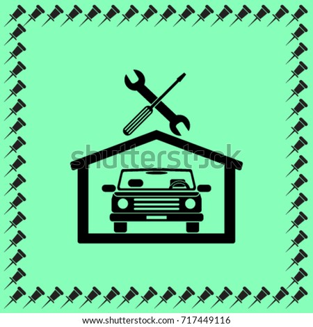 Car in the garage icon, autoservice icon