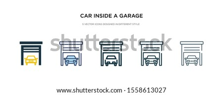 car inside a garage icon in different style vector illustration. two colored and black car inside a garage vector icons designed in filled, outline, line and stroke style can be used for web,