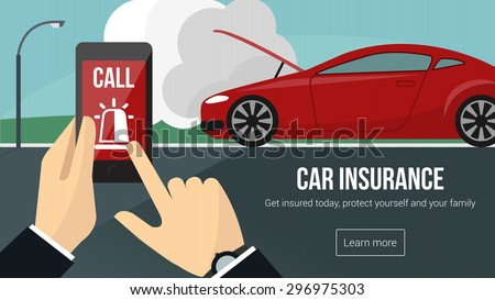 car insurance banner with man