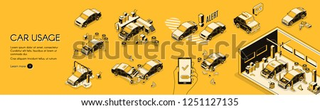 Car insurance company vector horizontal web banner or poster with cars on repair or diagnostics, wash service and crushed in accident illustration. Ownership risks, cost of use line art infographics