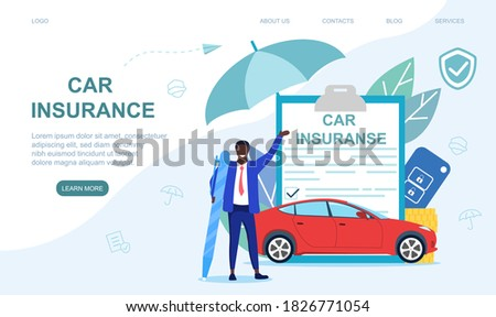Car insurance concept. Flat vector illustration. Web page template Сток-фото ©