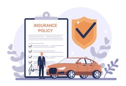 Car insurance concept. Idea of security and protection of property and life from damage. Safety from disaster. Isolated flat vector illustration