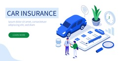 Car insurance concept with text place. Can use for web banner, infographics, hero images. Flat isometric vector illustration isolated on white background.