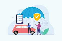 Car Insurance design concept with umbrella protection flat vector illustration