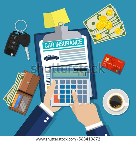 Car insurance form concept. Auto keys, car, calculator, clipboard and money. businessman hands holding calculator. Vector illustration in flat style