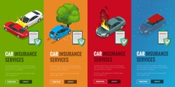 Car insurance services.  Protection from danger, providing security. Vector isometric illustration flat design. Web banners for website. Car insurance flayers