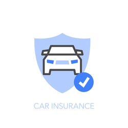 Car insurance symbol with a protective shield and a car. Easy to use for your website or presentation.