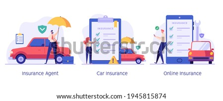 Car insurance vector illustration set. People protecting car with insurance and signing form with red auto. Concept of car insurance service, car accident, insurance agent for web design, ui