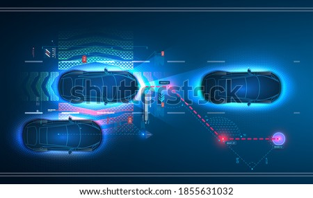 Car interface in HUD, GUI, UI style. Automotive sensing system concept. Autonomous car. Driver assistant system. Car top view with electronic digital interface, parameters and options, scans the road