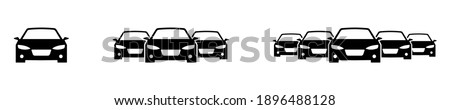 Car inventory. Heavy traffic jam. Car icons set. Different car columns. Icon with heavy jam vector car. Vector illustration. Isolated vector. Automobile apps concept. Automobile logo sign icon. EPS 10