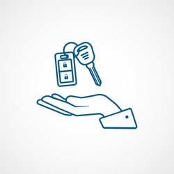 Car Key On Hand Blue Line Icon On White Background
