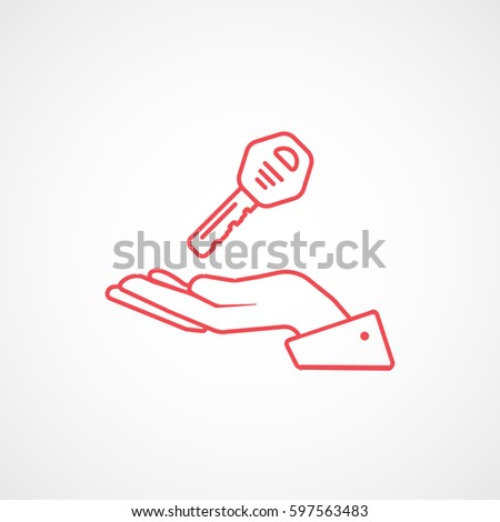 Car Key On Hand Red Line Icon On White Background #597563483