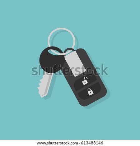 Car key with remote control / flat editable vector illustration, clip art