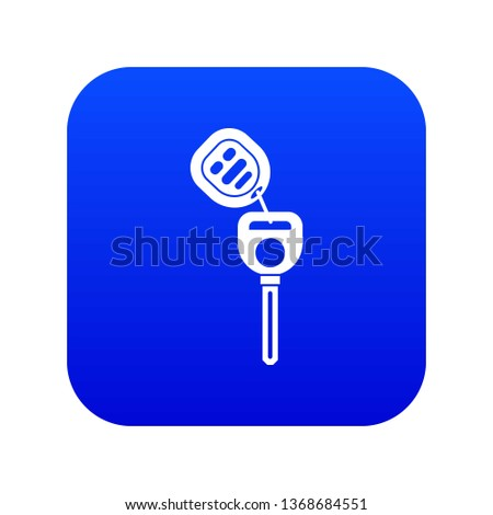 Car key with remote control icon digital blue for any design isolated on white vector illustration