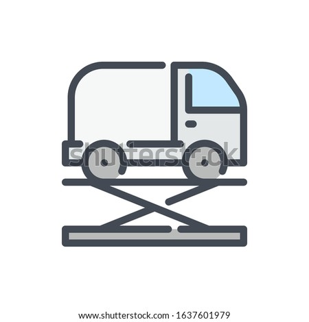 Car lift service color line icon. Vehicle maintenance vector outline colorful sign.