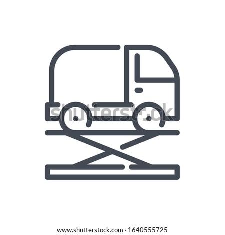 Car lift service line icon. Vehicle maintenance vector outline sign.