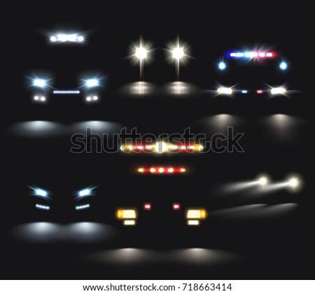 car lights set of realistic