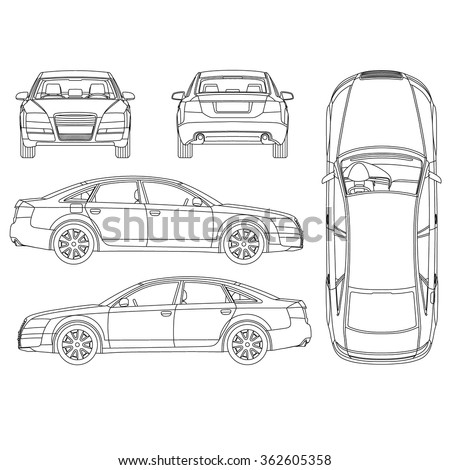 Car line art, all view, four view, top, side, back, front