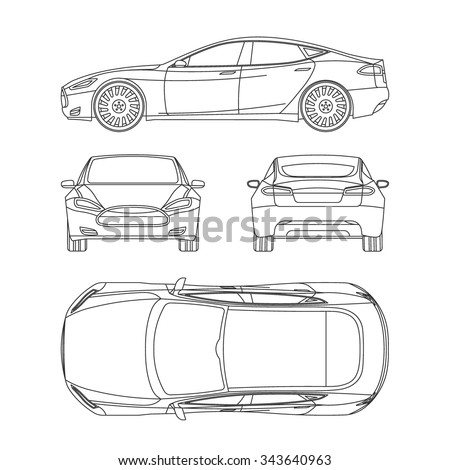 car line draw blueprint front