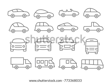 Car line icons on white background