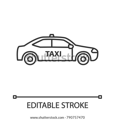 Car linear icon. Taxi. Thin line illustration. Automobile. Contour symbol. Vector isolated outline drawing. Editable stroke