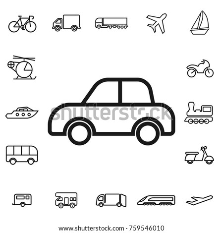 car. linear transport icon set