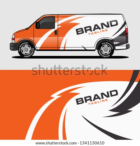 car livery orange van wrap design wrapping sticker and decal design for corporate company branding vector