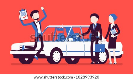 Car loan approved. Happy young man exited when got a bank authorization, customer and agents after document acceptance, jumping with joy to get a new auto. Vector illustration with faceless characters
