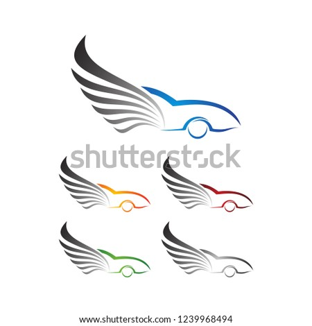 Car Logo, Auto Wing, Auto motive icon,Abstract car with wing concept illustration